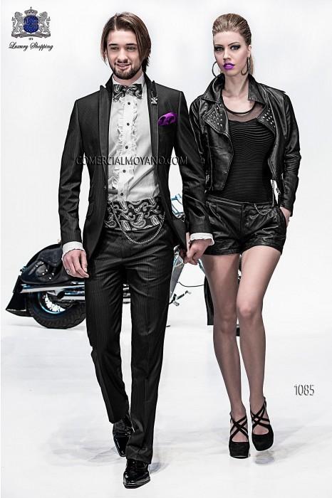 Italian black pinstripe fashion suit