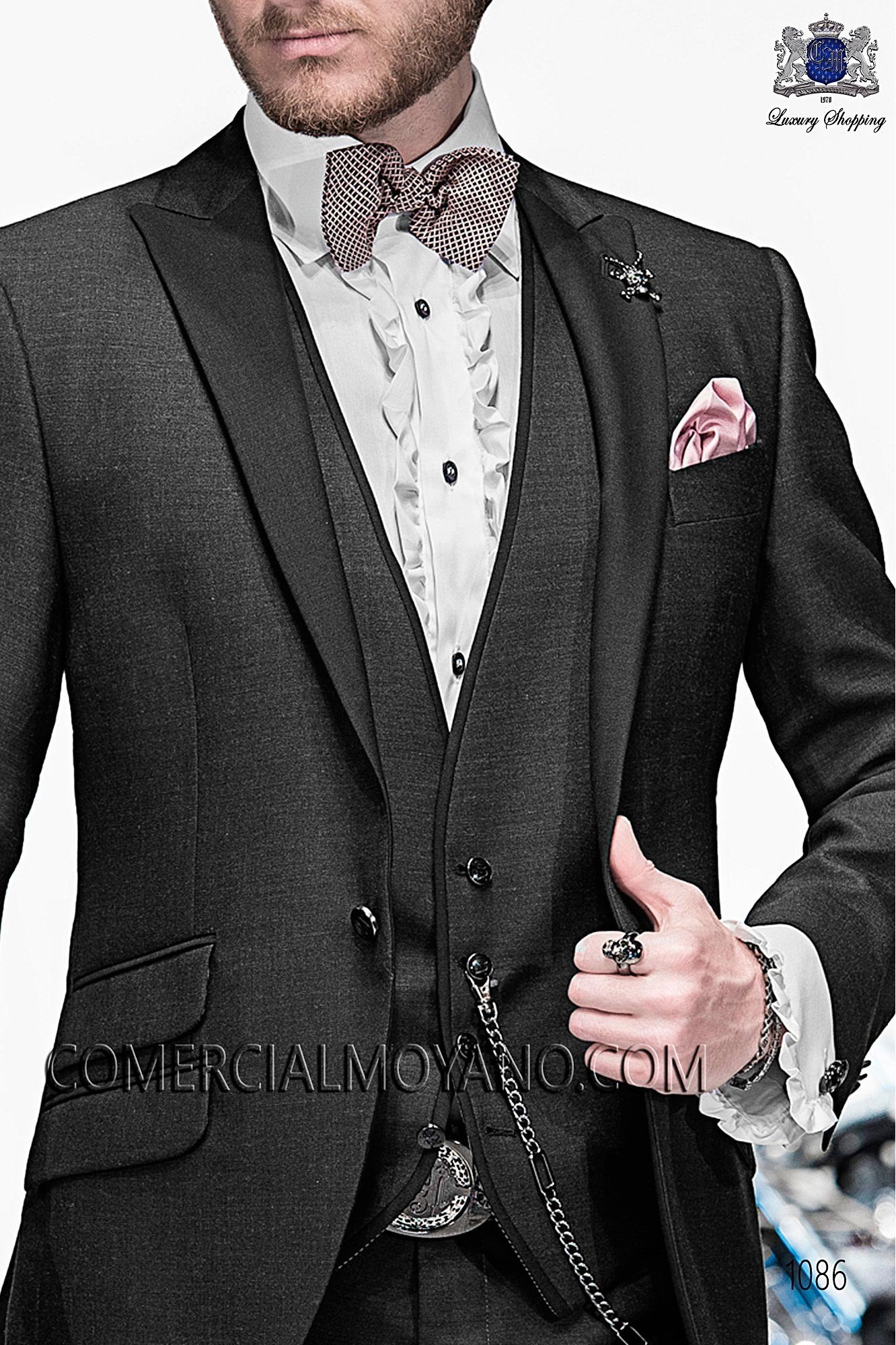 Italian emotion black men wedding suit, model: 1086 Ottavio Nuccio Gala Emotion Collection