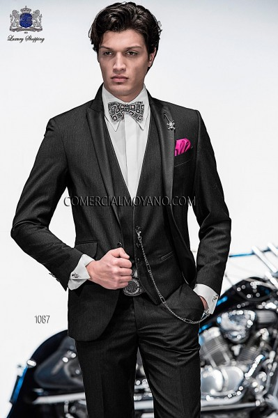 Italian charcoal gray fashion suit with waistcoat style 1087 Ottavio Nuccio Gala