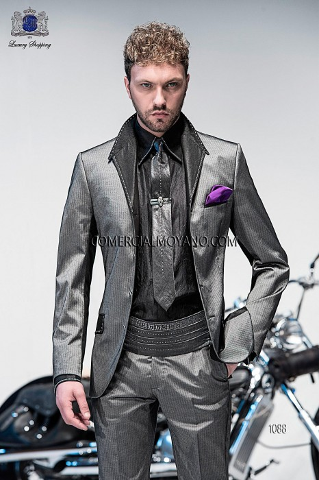 Italian gray stripe fashion suit