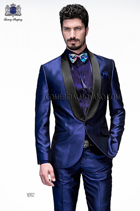 Italian blue shantung fashion suit