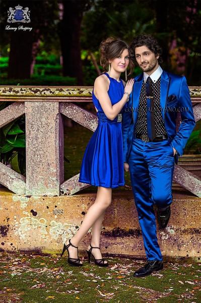 Traje de novio moderno azul modelo 1093 colección Emotion Ottavio Nuccio Gala