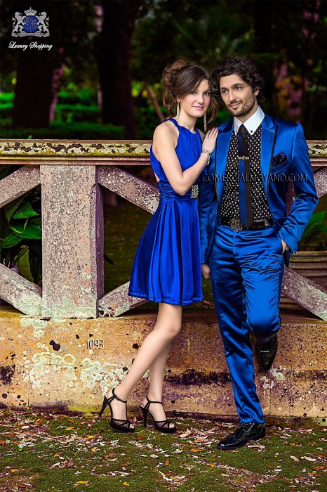 Italian bespoke blue fashion suit in satin fabric with black satin lapel profile, style 1093 Ottavio Nuccio Gala, 2015 Emotion collection.