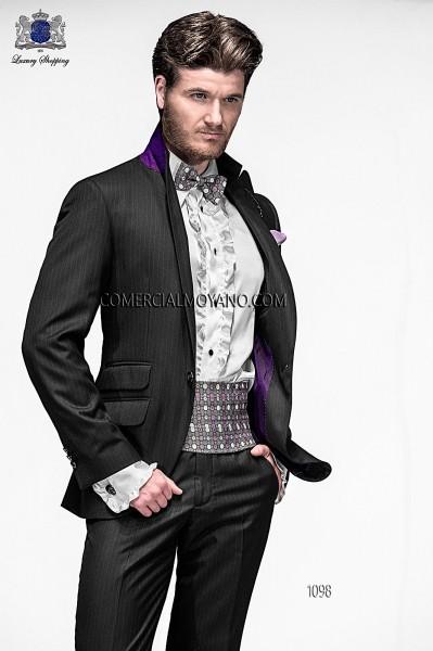 Traje de moda italiano raya diplomatica negro 1098 Ottavio Nuccio Gala