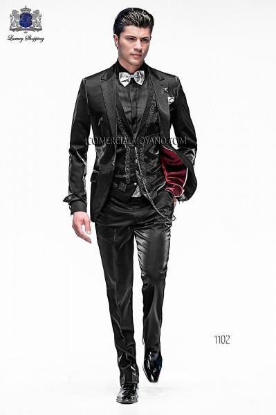 Traje de moda italiano con chaleco negro 1102 Ottavio Nuccio Gala