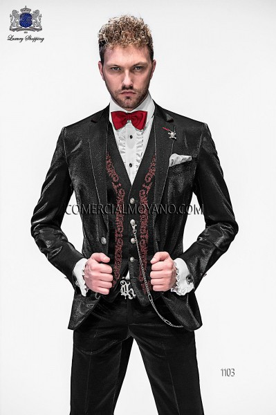 Italian black fashion vested suit