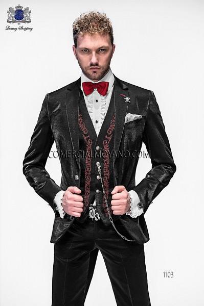 Italian black fashion vested suit