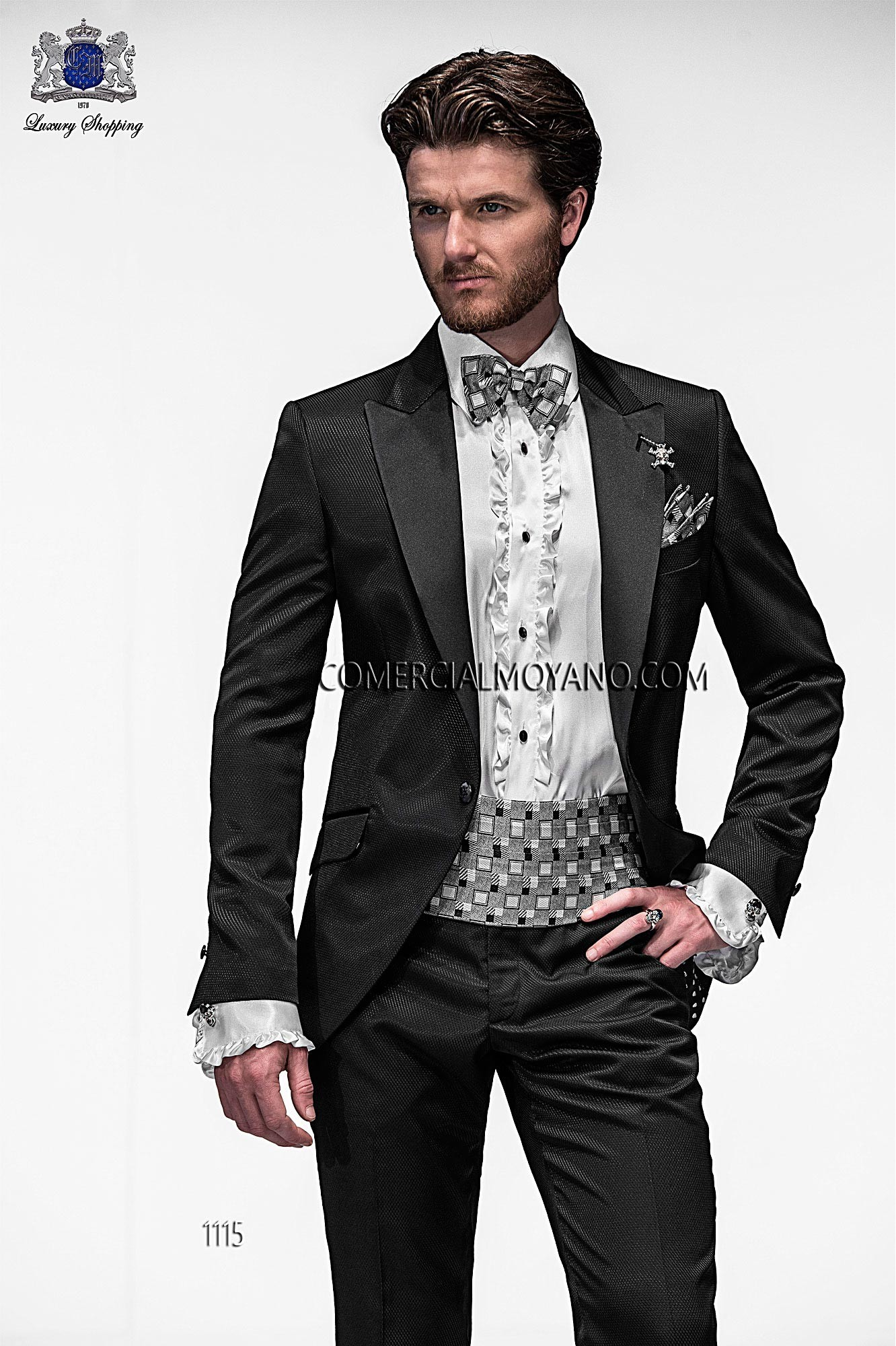 Emotion black men wedding suit model 1115 Ottavio Nuccio Gala