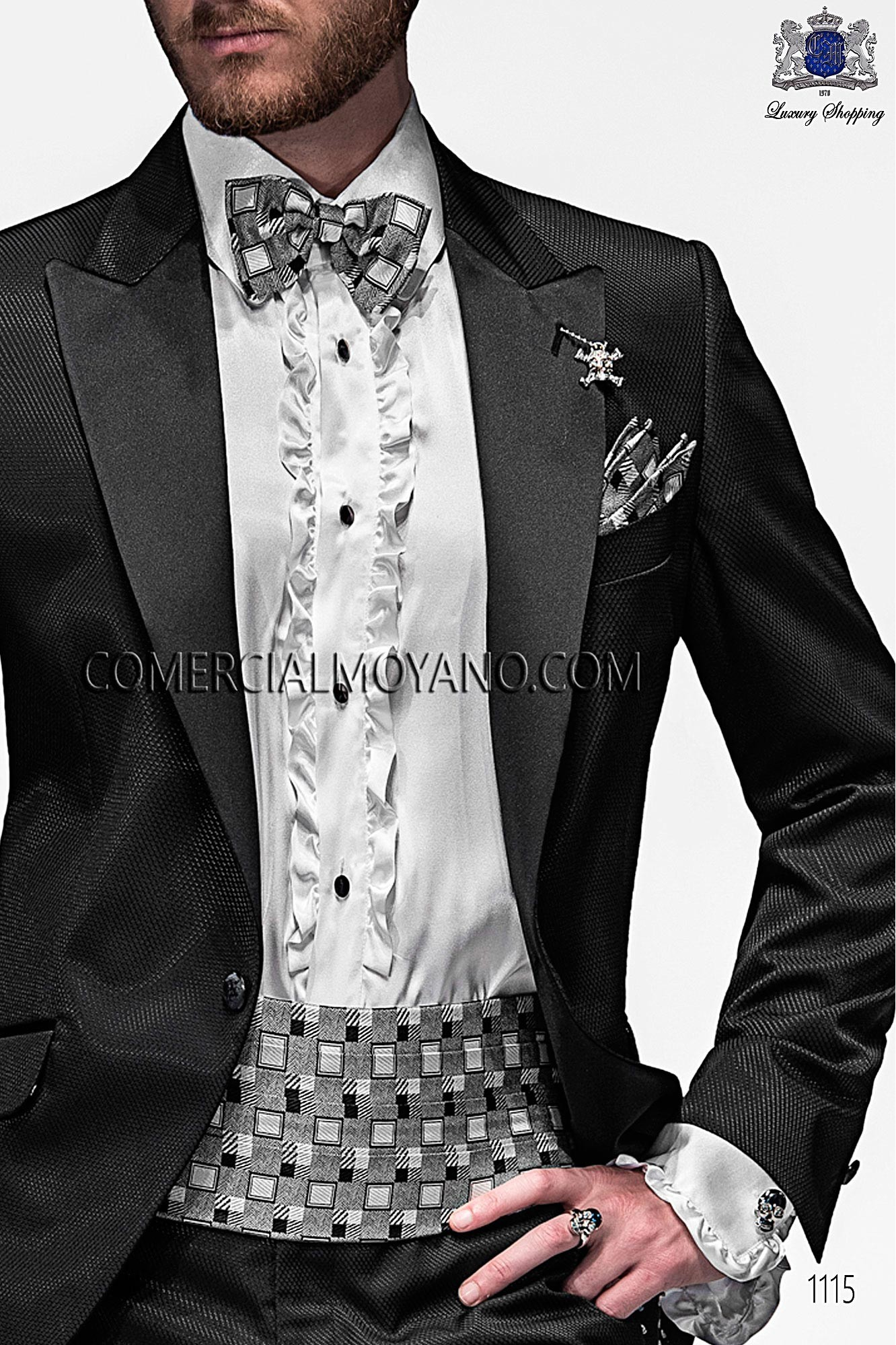 Italian emotion black men wedding suit, model: 1115 Ottavio Nuccio Gala Emotion Collection