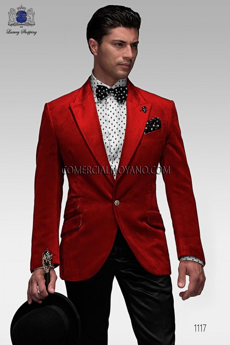 Red velvet jacket and black satin trousers
