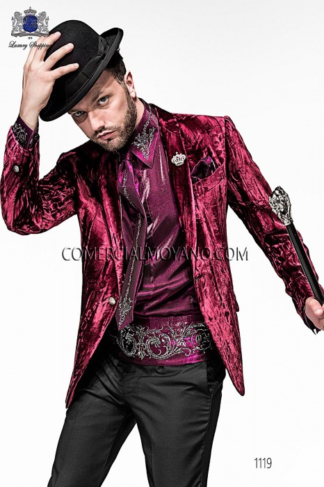 Italian purpel velvet fashion jacket 1119 Ottavio Nuccio Gala