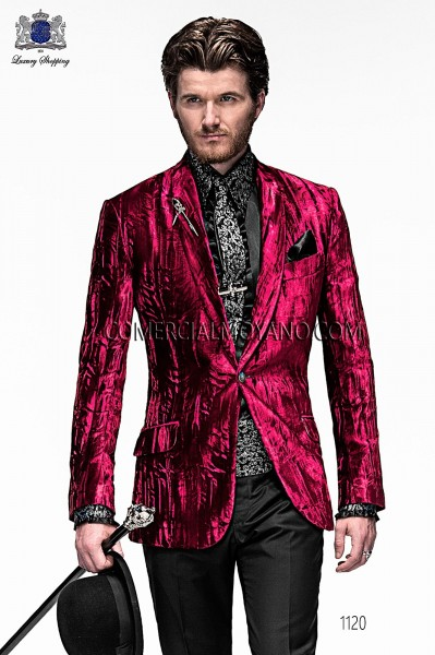 Chaqueta de moda italiano terciopelo rojo