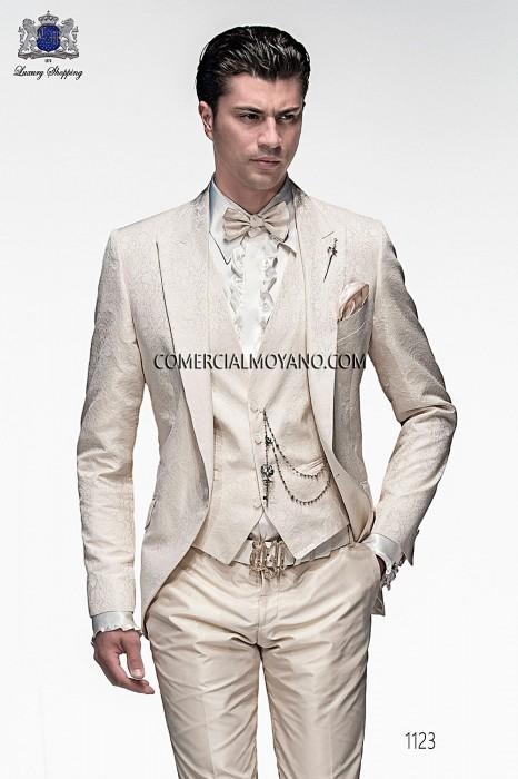 Italian ecru jacquard fashion jacket