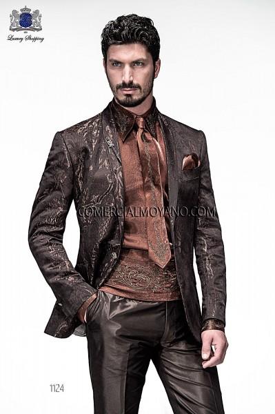 Chaqueta de moda italiano jacquard marrón 1124 Ottavio Nuccio Gala