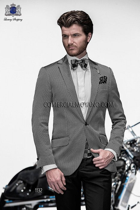 Italian black/silver silk jacquard fashion jacket
