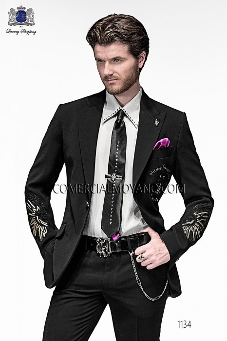 Italian black embroidery fashion suit