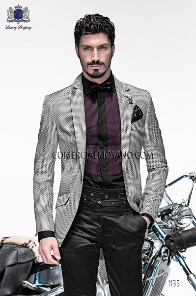 Italian gray silk jacquard fashion jacket