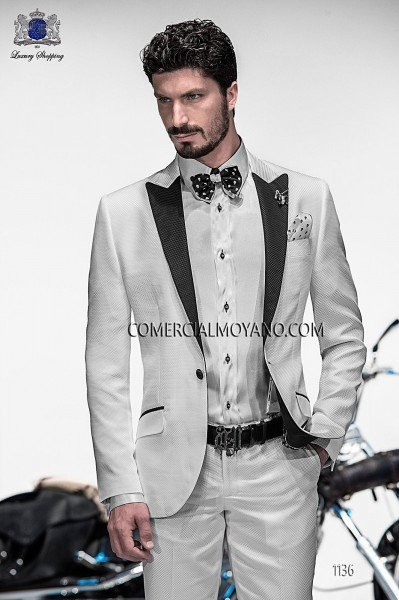 Italian white checked fashion suit