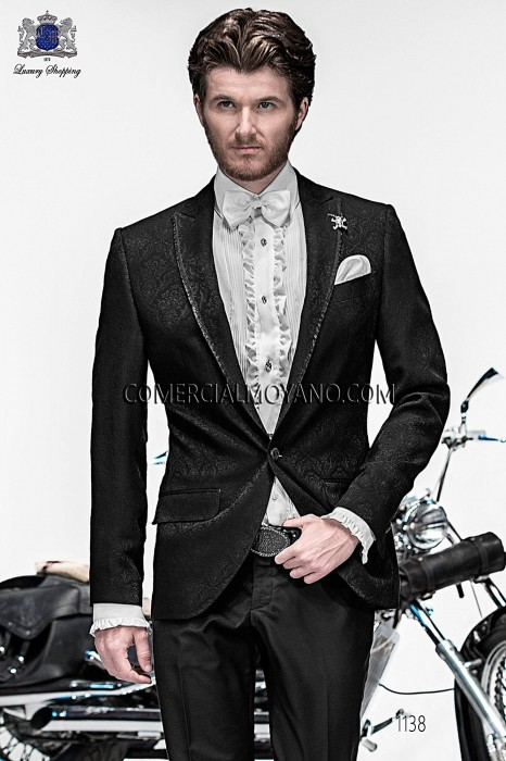 Italian black jacquard fashion jacket