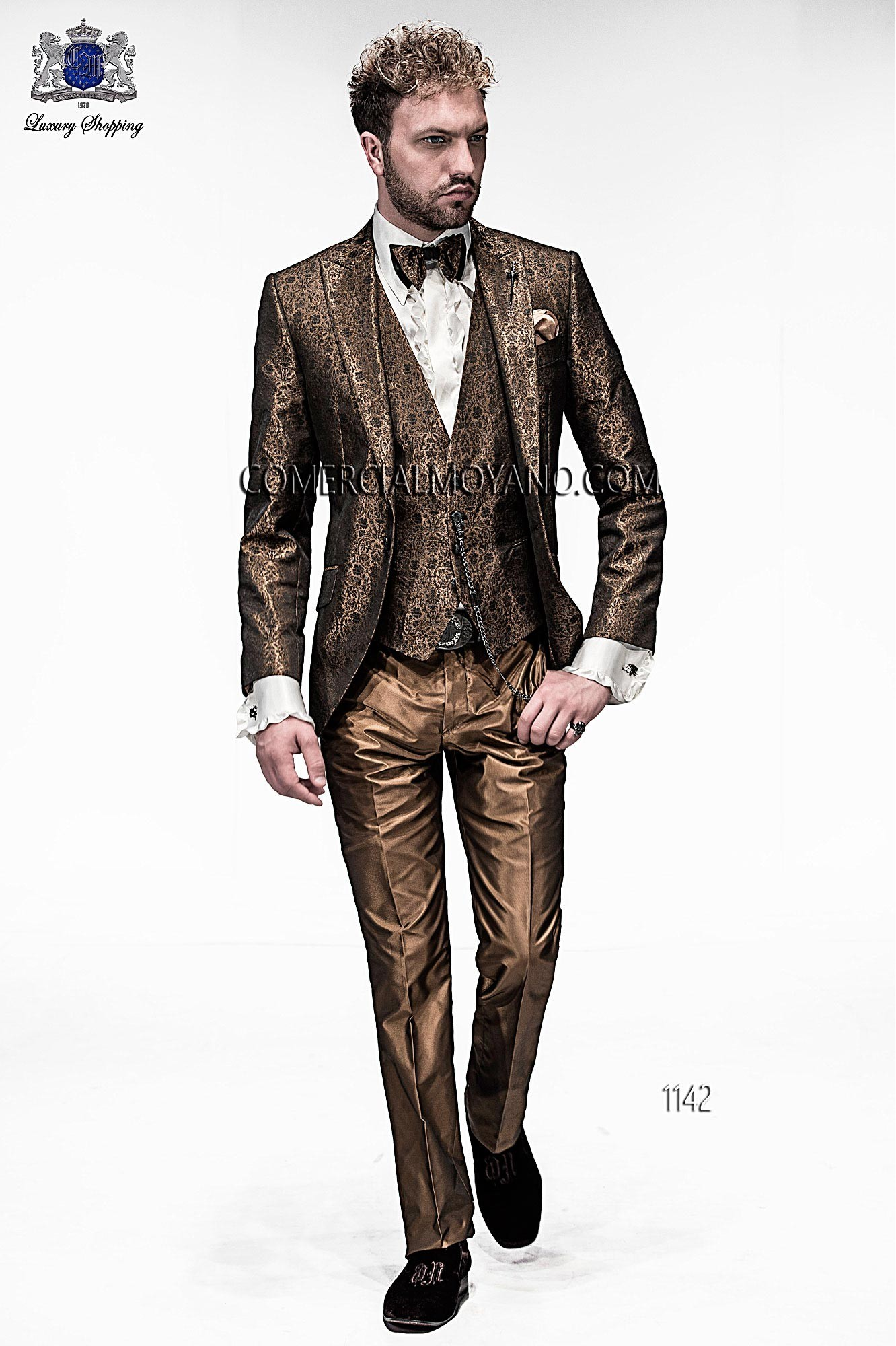 Emotion black and gold men wedding suit model 1142 Ottavio Nuccio Gala