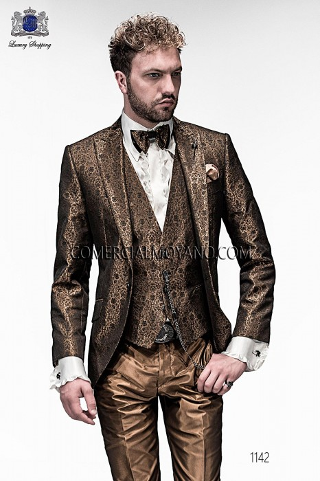 Italian gold jacquard fashion jacket