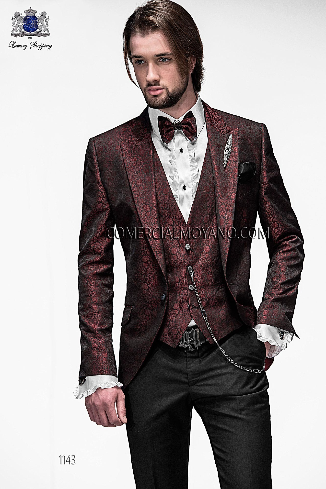 High Fashion Emotion black and burgundy men wedding suit, model ...