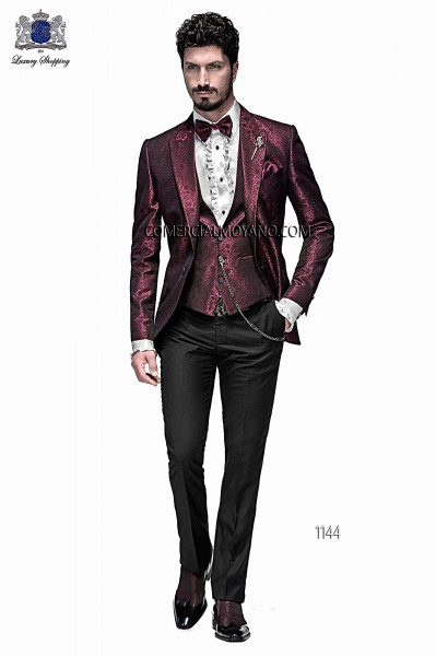 Italian emotion burgundy men wedding suit style 1144 Ottavio Nuccio Gala