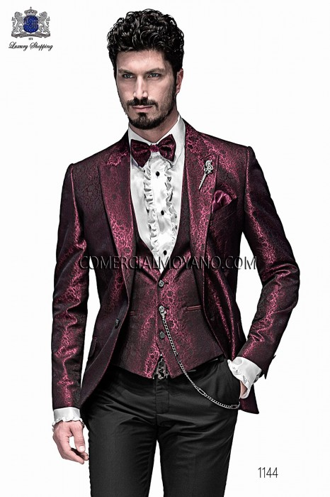 Italian bordeaux jacquard fashion jacket