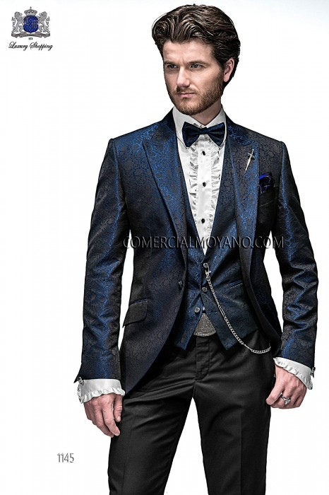 Italian blue jacquard fashion jacket