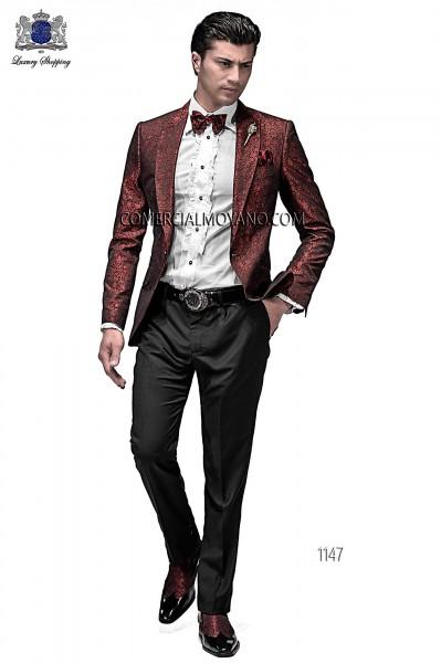 Traje de novio moderno negro/rojo modelo 1147 colección Emotion Ottavio Nuccio Gala