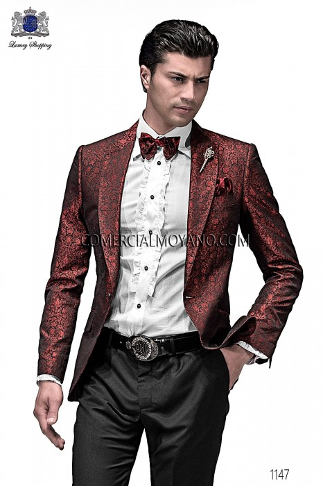 Italian red/black jacquard fashion jacket