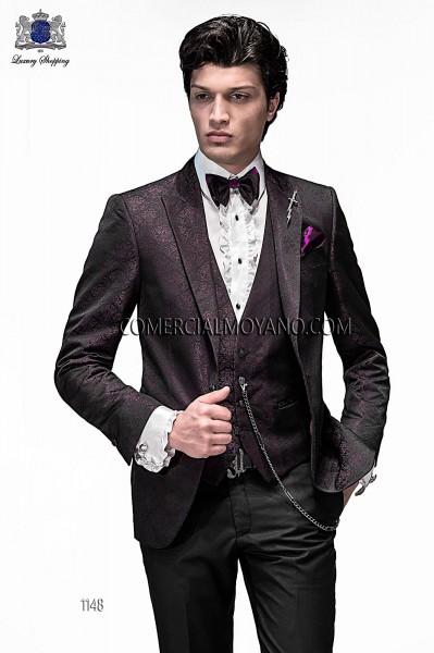 Traje de novio moderno negro/viola modelo 1148 colección Emotion Ottavio Nuccio Gala
