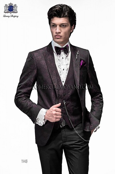 Italian emotion burgundy men wedding suit style 1148 Ottavio Nuccio Gala