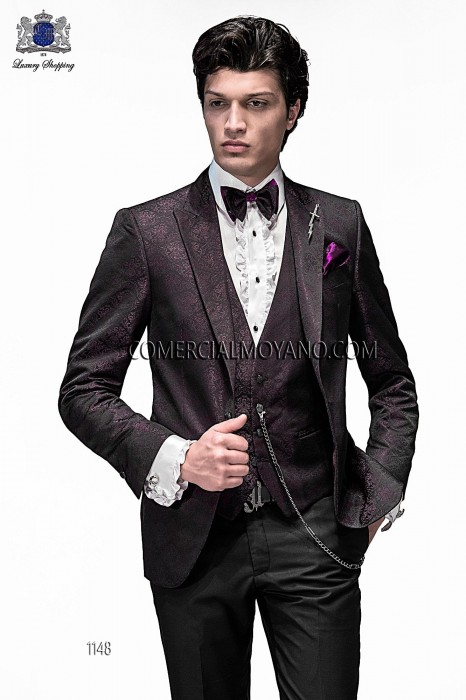 Italian purple/black jacquard fashion jacket