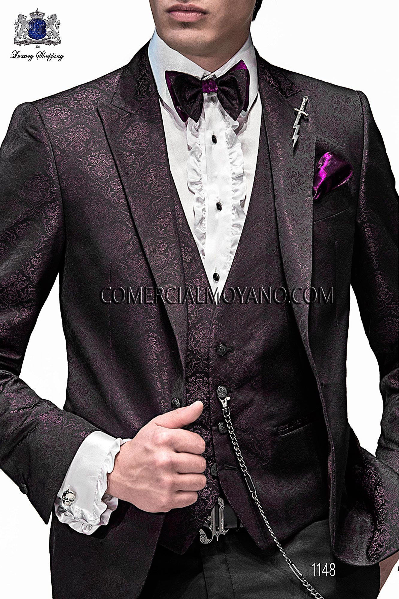 High Fashion Emotion black and purple men wedding suit, model ...