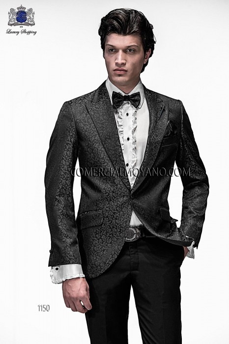 Italian black/gray brocade fashion jacket