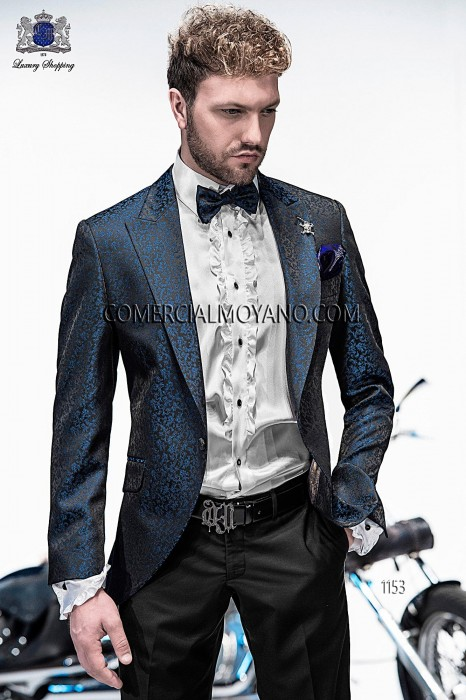 Italian black/blue brocade fashion jacket