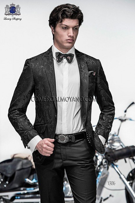 Italian black brocade fashion jacket