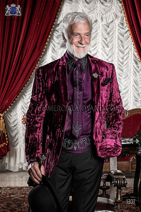Italian purple velvet fashion jacket