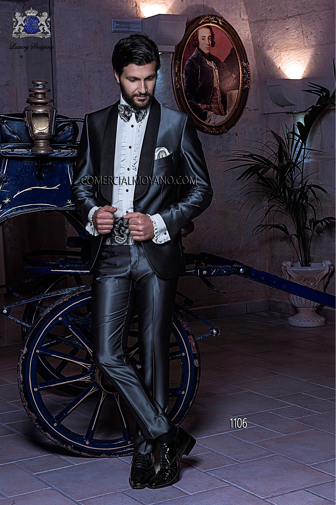 Italian gray tuxedo wedding suit in new performance fabric with black satin shawl lapels, style 1106 Ottavio Nuccio Gala, 2015 Black Tie collection.