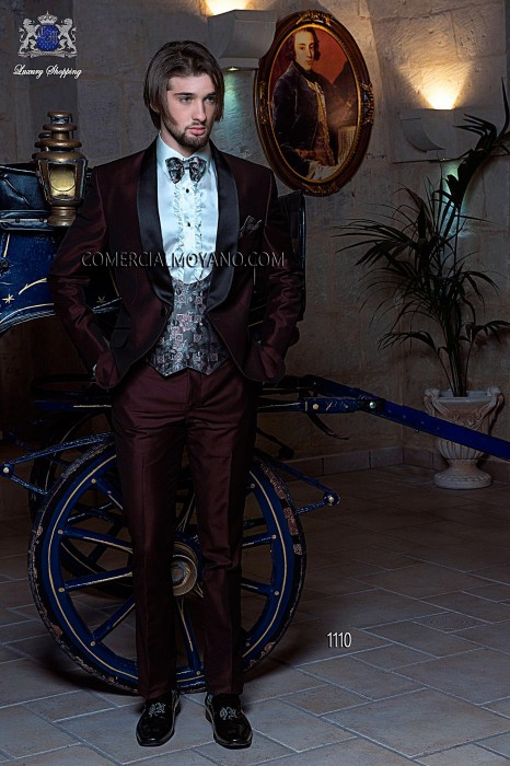 Italian burgundy tuxedo wedding suit
