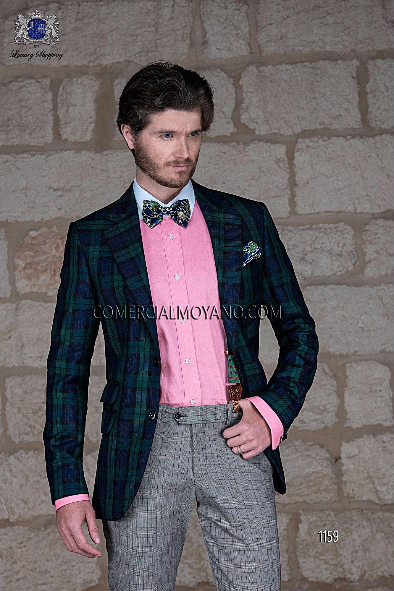 Black Tie blue tartan men wedding suit model 1159 Ottavio Nuccio Gala