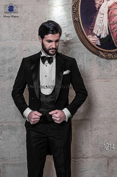Italian blacktie black men wedding suit style 1214 Ottavio Nuccio Gala