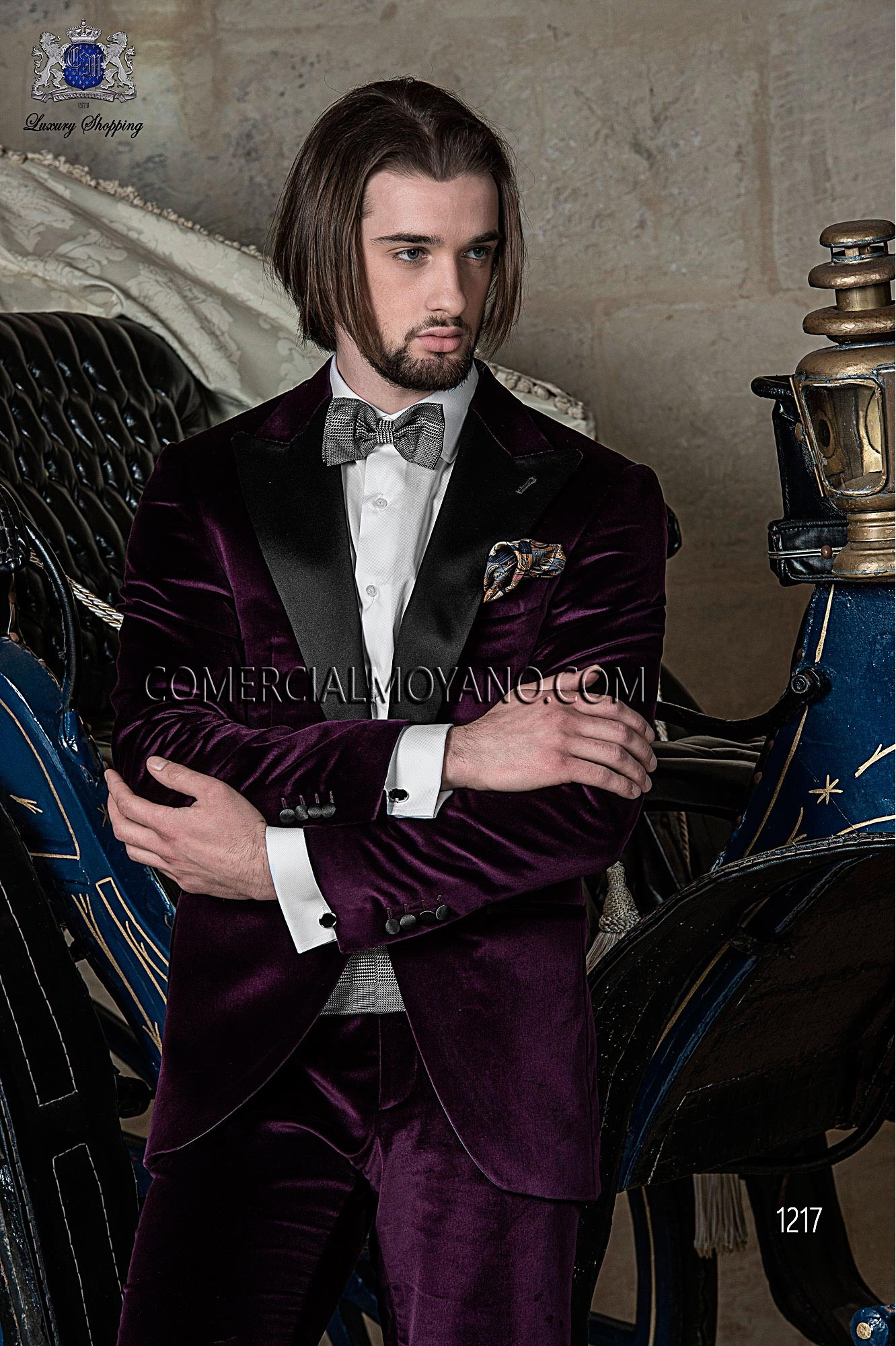 Black Tie purple men wedding suit model 1217 Ottavio Nuccio Gala