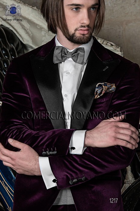 Italian purple velvet wedding suit style 1217 Ottavio Nuccio Gala.