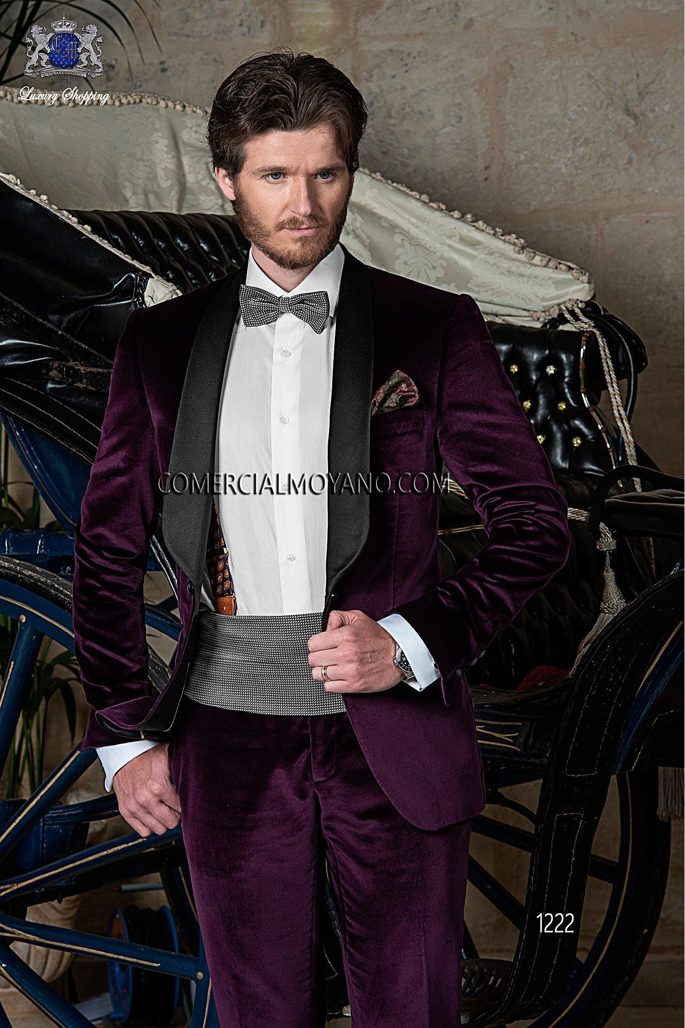 Black Tie purple men wedding suit model 1222 Ottavio Nuccio Gala