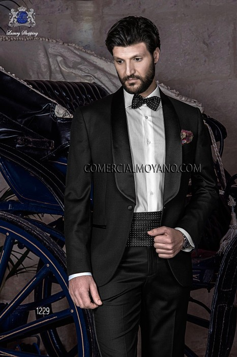 Italian black tuxedo wedding suit