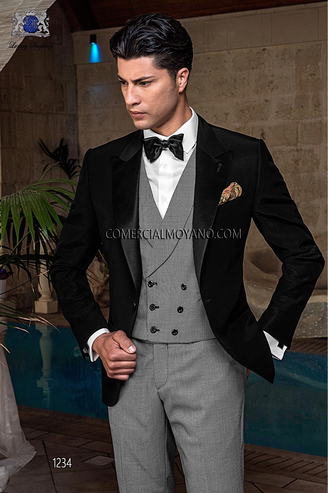 Traje de novio esmoquin italiano a medida negro en tejido new performance con pantalón y chaleco pata de gallo, modelo 1234 Ottavio Nuccio Gala colección Black Tie 2015.