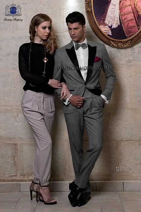 Traje de novio italiano a medida esmoquin, en tejido príncipe de gales gris, modelo 1237 Ottavio Nuccio Gala colección Black Tie 2015.