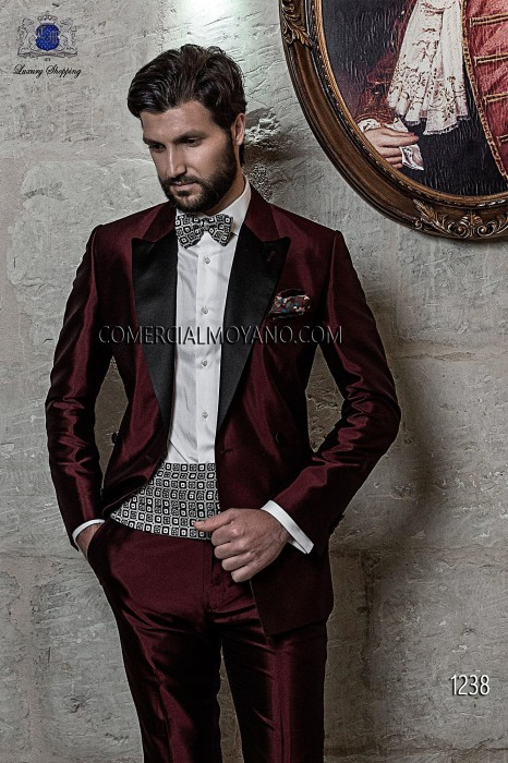 Italian burgundy wedding tuxedo double breasted